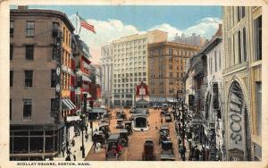 Scollay Square Soston Mass Street Vintage Cars Postcard