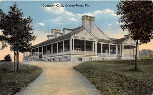 Greensburg Pennsylvania~Country Club House~Note on Back~1915 Postcard