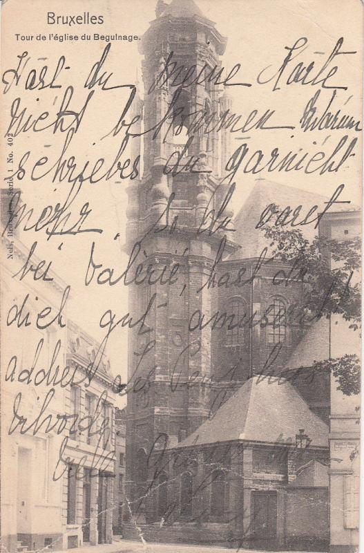 BELGIUM BRUSSEL TOUR DE L`EGLISE DE BEGULNAGE TOWER damaged as per 2scans