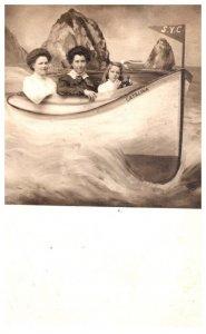 California Santa Catalina Souvenir card , Girls in boat    RPC