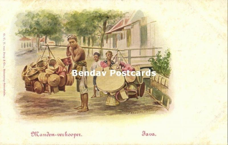 indonesia, JAVA, Native Basket Street Seller (1899) Artist Signed Van der Heiden