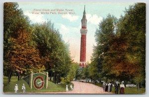 Detroit Michigan~Water Works Park~Children on Floral Clock Fence~Tower~c1910