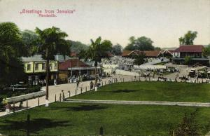 jamaica, MANDEVILLE, Street Scene with Market, Wembley and Bargain House (1910s)