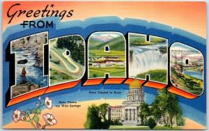 IDAHO Large Letter Postcard w/ State Capitol & Flower Tichnor Linen 1950s Unused