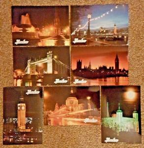 Set of 7 High Quality Glossy Postcards of Famous London Landmarks