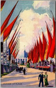1933 CHICAGO WORLD'S FAIR Expo Postcard AVENUE OF FLAGS Artist's View Unused