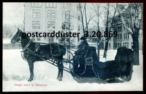 869 - MONTREAL Quebec Postcard 1910s Horse Sleigh