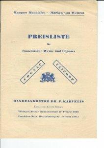 MC-153 - 1950's Handelskontor Dr. P. Karvelis Wine Price List Vintage, Mondiales
