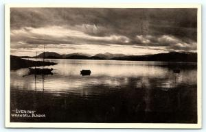 Postcard AK Wrangell Evening View Water Boats RPPC Scenic Photo Publishing  8/6