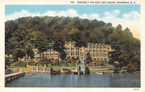 Montreat North Carolina~Assembly Inn on Lake Susan~1933 Postcard