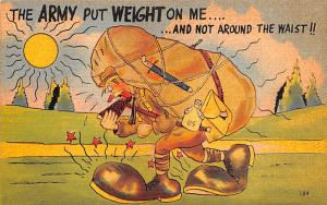 Post Card Old Vintage Antique Army Cartoon Unused