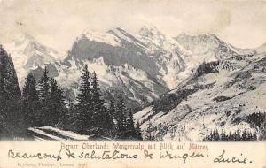 Switzerland Berner Oberland Wengernalp mit Blick auf Murren Berg Mountains