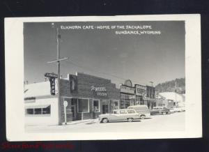 RPPC SUNDANCE WYOMING DOWNTOWN STREET SCENE 1950's CARS REAL PHOTO POSTCARD