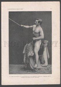 092773 ART NOUVEAU FRENCH NUDE RISQUE GIRL & FENCING MAN