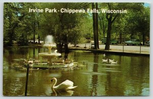 Chippewa Falls Wisconsin~Geese & Swan Float Around Irvine Park Fountain~1960s PC