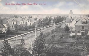 Wild Rose Wisconsin~Birdseye Down Residential Street~Homes~Church~CR Childs~1912
