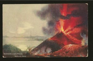 Vintage Vesuvius in Eruption Naple Italy Color Postcard Unused