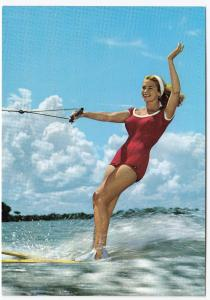 Vintage Water Skiing PPC, Woman In One Piece Bathing Suit, Unposted, By J Hinde