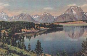 Wyoming Grand Teton National Park Teton Range From Jackson Lake 1946 Curteich