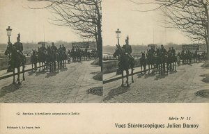 Postcard Stereo view military parade -Paris artillerie defile