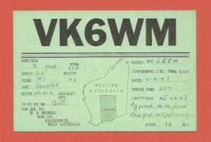 QSL AMATEUR RADIO CARD – KALGOORLIE, AUSTRALIA – 1947