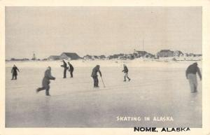Nome Alaska Ice Skating Scene Antique Postcard K78927