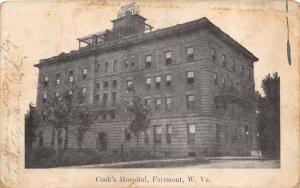 FAIRMONT WEST VIRGINIA COOK'S HOSPITAL POSTCARD c1908 FLEMINGTON WV POSTMARK