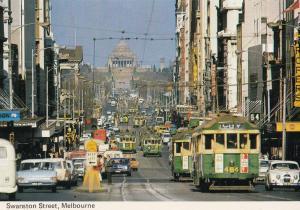 Swanston Street Melbourne Australia 1970s Postcard