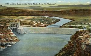 Alcova Dam on North Platte River near Casper WY, Wyoming - Linen