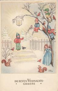 Carla Husmann signed winter fantasy postcard angel children squirrels birds lamp
