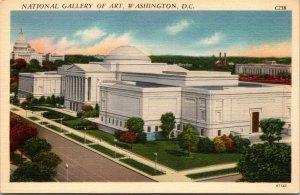 Vtg 1930s National Gallery of Art Washington DC Unused Linen Postcard