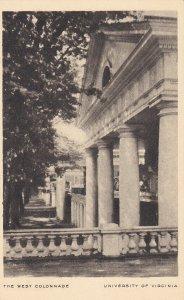 CHARLOTTESVILLE, VA, 1900-10s; The West Colonnade, University of Virginia