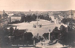 Italy Old Vintage Antique Post Card Piazza del Popolo Roma, Real Photo Unused