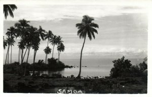 PC CPA SAMOA, PACIFIC, BEACH SCENE AND PALM TREES, Vintage Postcard (b19443)