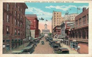 USA Capital Boulevard Looking North Nashville Tennessee Vintage Postcard 07.32
