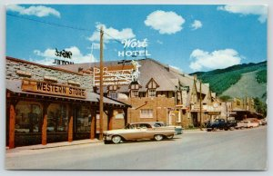 Jackson Wyoming~Main Street~Western Store~Wort Hotel~Classic Cars-Truck~1950s