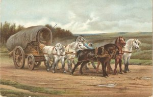 Rosa Bonheur.Wagon and Team of Horses Fine painting Stengel PC # 29191