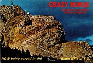 Korczak Ziolkowski Sculptor Crazy Horse Black Horse SD vtg postcard