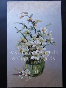 c1907 Greetings: Gold & Silver PC with Vase of Narcissus Flowers