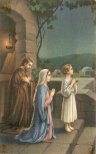 The Holy Family. Praying Nice vintage American religiouspostcard