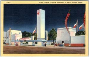 Dallas, Texas Postcard Parry Avenue Entrance, STATE FAIR OF TEXAS Linen c1940s