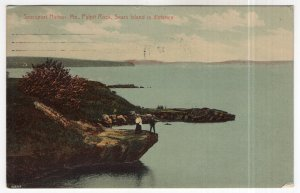 Searsport Harbor, Me, Pulpit Rock, Sears Island in Distance