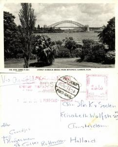 australia, SYDNEY, Harbour Bridge (1961) RPPC, Paquebot Port-Said, Red Cancel