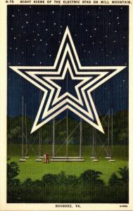 Virginia Roanoke Electric Star On Mill Mountain At Night