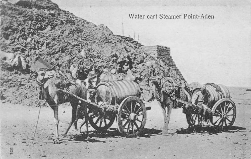12494 Yemen Point-Aden  1908   Water cart Steamer pulled by Camels