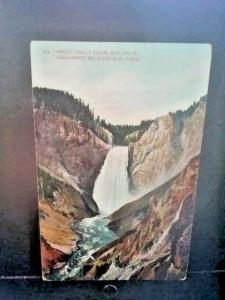 Postcard  Great Falls View from Red Rock , Yellowstone Park