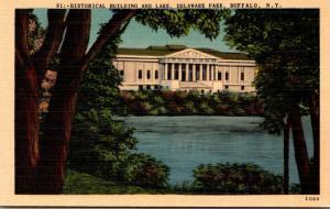 New York Buffalo Delaware Park Historical Building and Lake