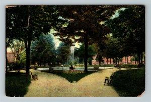 Kalamazoo MI-Michigan, Bronson Park Fountain, Vintage c1909 Postcard