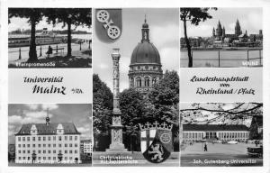 Mainz Germany~5 Views~Rheinpromenade~Christuskirche~Universitat~1958 RPPC