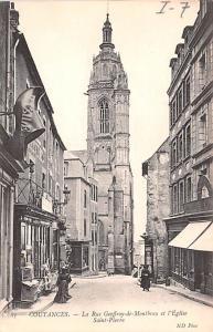Coutances France La Rue Geoffroy de Montbray et l'Eglise Saint Pierre Coutanc...